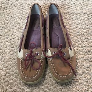 Brown and Purple Sperry Boat Shoes